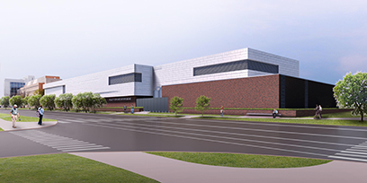 An artist's rendering of the FRIB building as seen from the intersection of Bogue Street and Wilson Road.