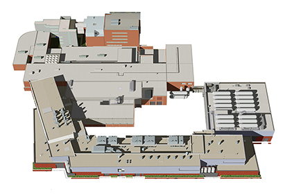 An architectural rendering shows the baselined conventional facilities design of the Facility for Rare Isotope Beams.