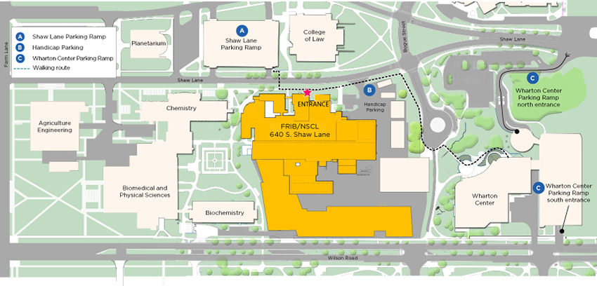 Map of parking options at MSU for 2016 FRIB open house.