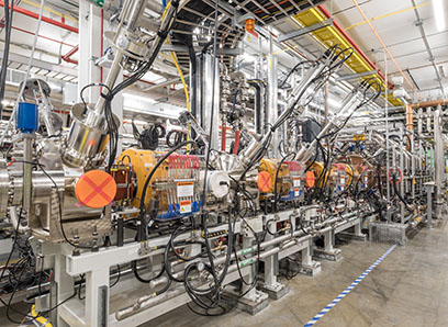A view inside the linear accelerator tunnel at FRIB shows substantial technical progress on the accelerator beamline. (Photo credit: Kurt Stepnitz, Communications and Brand Strategy)