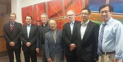 Members of the Accelerator Systems Advisory Committee recently met. Pictured, from left, are Jens Knobloch, Thomas Roser, Bob Laxdal, Satoshi Ozaki, Stuart Henderson, Roberto Than, and Yuke Tian.