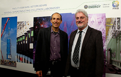 On 27 June, FRIB Deputy Laboratory Director Paul Mantica (left) met with Professor Dr. Richard Baum (right) and provided a tour of the FRIB Laboratory.