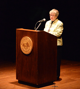MSU President Lou Anna K. Simon speaks about the importance of MSU's nuclear physics program.