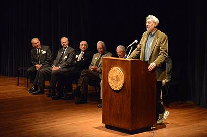 The nuclear physics faculty who were present before or shortly after the commissioning of the K50 cyclotron spoke at the event. From left: Ed Kashy, Gary Crawley, Aaron Galonsky, Sam Austin, Hugh McManus, and Walt Benenson (standing at podium).