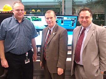 From left: FRIB Project Manager Thomas Glasmacher, Rep. Tim Walberg, and MSU Vice President for Governmental Affairs Mark Burnham visit the NSCL control room on Rep. Walberg's tour of FRIB.
