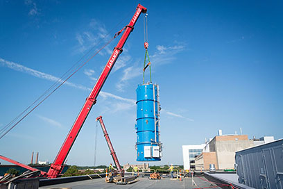 The 100,000-pound vertical cryogenic cold box arrived at FRIB on 10 August. The cold box was built in Oklahoma and arrived to Michigan by way of the Lake Michigan car ferry, SS Badger.