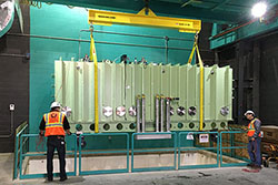 FRIB INSTALLS FIRST CRYOMODULE INTO LINEAR ACCELERATOR TUNNEL