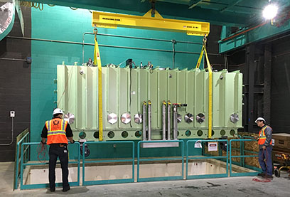 The Facility for Rare Isotope Beams installed the first of 48 cryomodules into its linear accelerator tunnel.