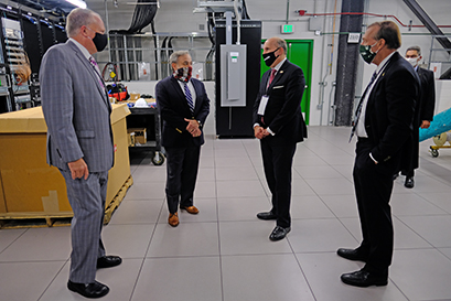 U.S. Secretary of Energy Dan Brouillette (second from left) designated the Facility for Rare Isotope Beams as a U.S. Department of Energy Office of Science user facility 29 September. Prior to the designation, Brouillette and Under Secretary for Science Paul Dabbar (second from right) toured FRIB with MSU President Samuel L. Stanley Jr., M.D. (far right), and FRIB Laboratory Director Thomas Glasmacher (left).
