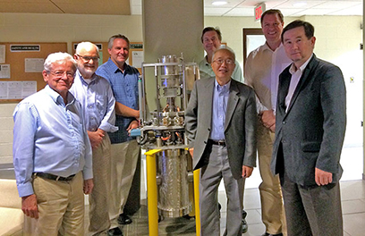 The Experimental Systems Advisory Committee included (pictured left to right) Michael Rowe, Jerry Nolen, James Kerby, Kris Anderson, I-Yang Lee, Jens Dilling, Toshiyuki Kubo.