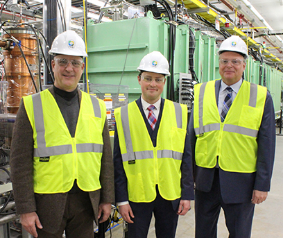 U.S. Department of Energy Office of Science Senior Advisor Kurt Heckman (left), and Special Assistant Troy Hall (middle), visited FRIB on 2 April. FRIB Laboratory Director Thomas Glasmacher (right) provided a tour of the facility.
