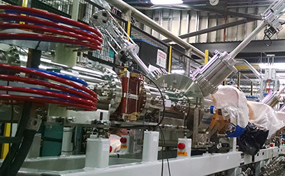 The assembly and installation of all components and diagnostics for the upper Low Energy Beam Transport (LEBT) line was completed on 6 March.
