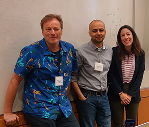 Morten Hjorth-Jensen, Raghuram Ramanujan, and Michelle Kuchera pose for a photo during a break of the 2019 FRIB-Theory Alliance Summer School on machine learning.