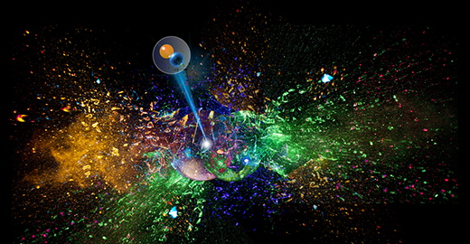 An artist's impression shows two translucent orbs, which represent tin nuclei, colliding and shattering in a shower of colorful shards. Amidst these shards, which represent protons, neutrons and their clusters, is a single pion, shown as another translucent sphere with two smaller spheres, representing quarks, inside.