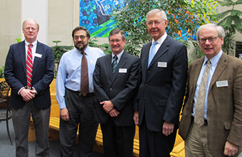 Pictured below, from left, are PPAC members James Duderstadt (President Emeritus, University of Michigan), William Barletta (Director of the US Particle Accelerator School, Massachusetts Institute of Technology), Dean Helms (U.S. Department of Energy, retired), James Decker (DOE Office of Science, retired), and James Symons (Director, Nuclear Science Division, Lawrence Berkeley National Laboratory). William Madia (Vice President, SLAC National Accelerator Laboratory) was unable to attend.