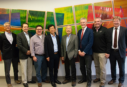 The Technical Systems Advisory Committee (from left): John Galambos, Thomas Roser, Patrick Hurh, Sang-ho Kim, I-Yang Lee, Bob Laxdal, Jim Kerby, and Soren Prestemon.